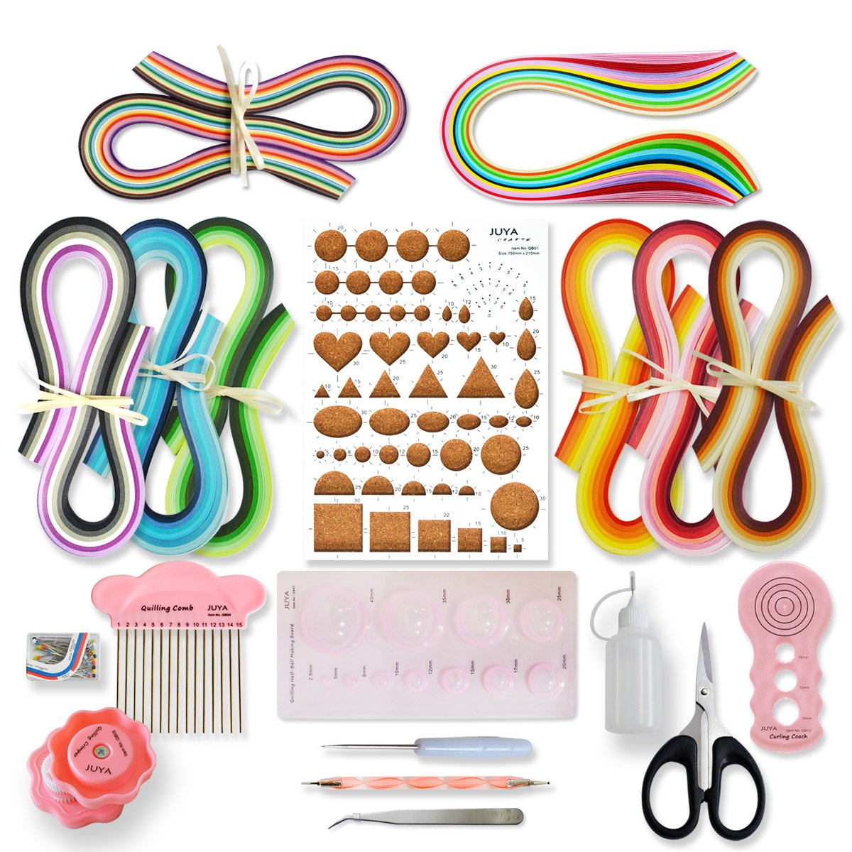JUYA Paper Quilling Kit with Pink Tools 960 Strips Board Mould Crimper Coach Comb (Paper Width 3mm)
