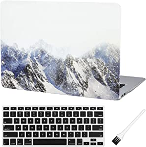 MacBook Air 13 inch Case A1369 A1466 Laptop Hard Case Matte Rubberized Plastic Hard Shell Case Cover (Old Version 2010-2017) & Silicon Keyboard Cover & Dust Brush-Snow Mountain