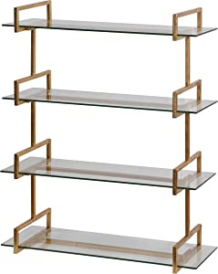 MY SWANKY HOME Modern Iron Glass Wall Shelf Antiqued   Gold Metal Vintage Style Four Shelves Minimalist