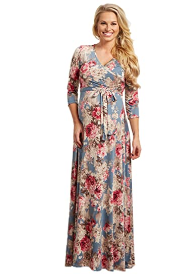 6d7f6768f6c Image Unavailable. Image not available for. Color  PinkBlush Maternity  Light Blue Floral Sash Tie Maxi Dress ...