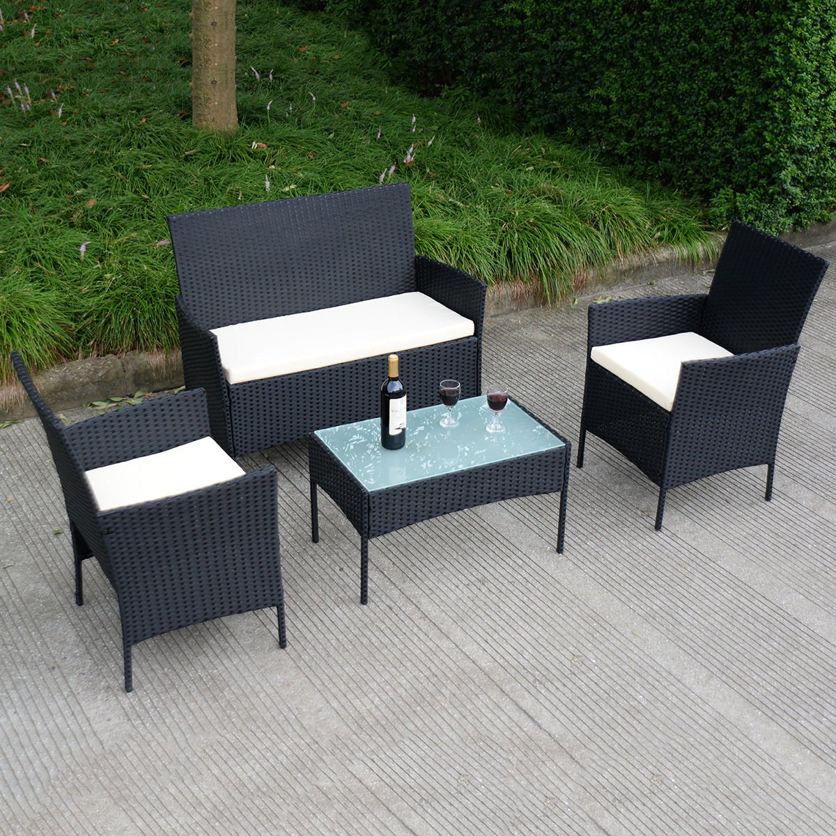 Amazon com  Tangkula 4 pcs Wicker Furniture Set Rattan Sofas Garden Lawn  Patio Furniture  Garden   Outdoor. Amazon com  Tangkula 4 pcs Wicker Furniture Set Rattan Sofas
