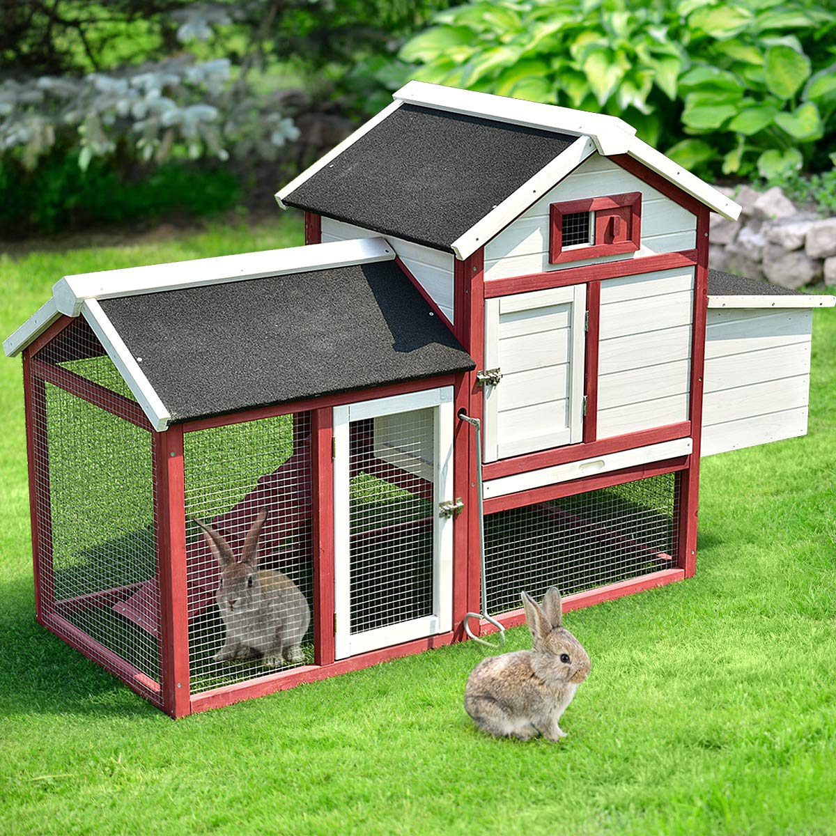 Tangkula 60'' Large Rabbit Hutch Wooden White Rabbit Bunny Outdoor Animal Cage Rabbit Hutch House with Black Linoleum Roof by Tangkula (Image #2)