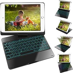 iPad Keyboard Case for 9.7 iPad 2018 (6th Gen), iPad 2017 (5th Gen), iPad Pro 9.7, iPad Air 2 Air 1,360 Rotatable Ultrathin Smart Keyboard Cover,Auto Wake Sleep,7 Color Backlit