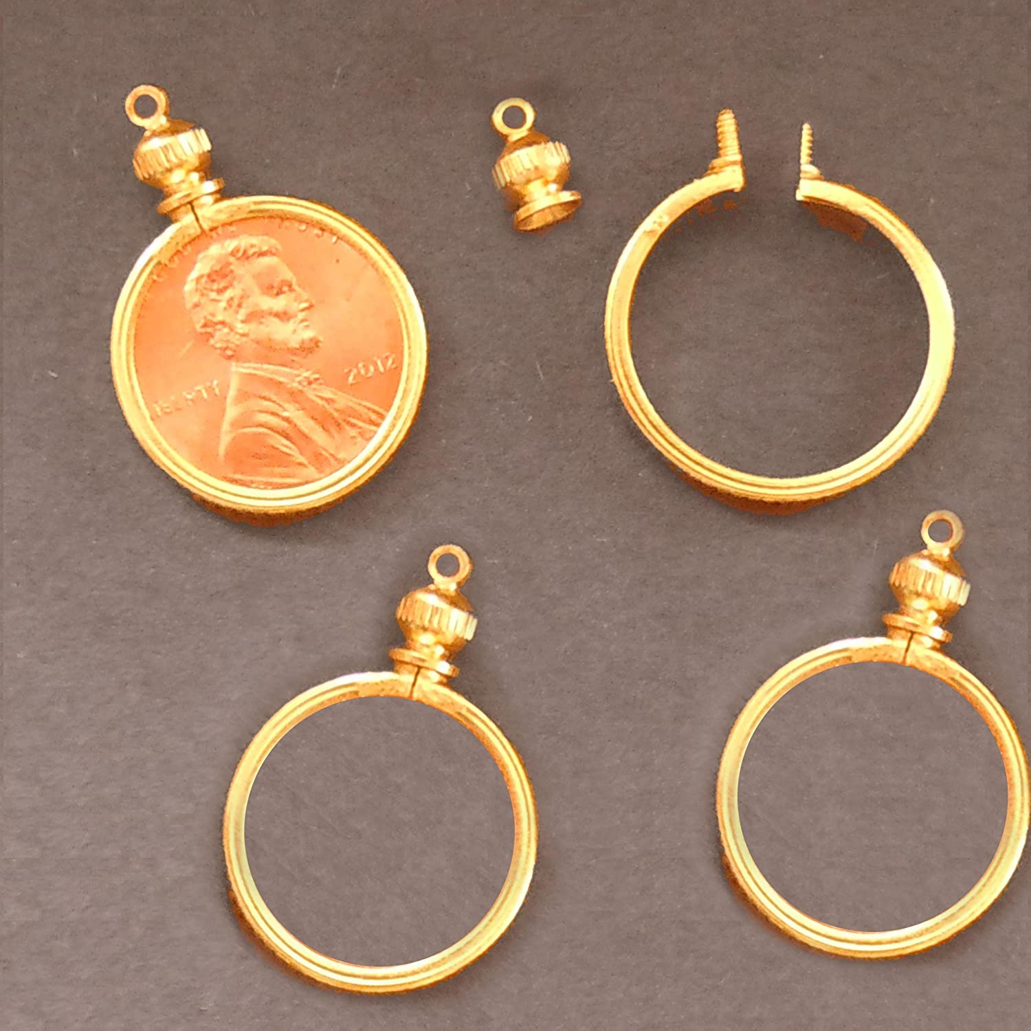 Necklace Pack of 4 1 Cent // USA Penny Coin Holder Bezel Gold Tone ~ for Charm Display Pendant