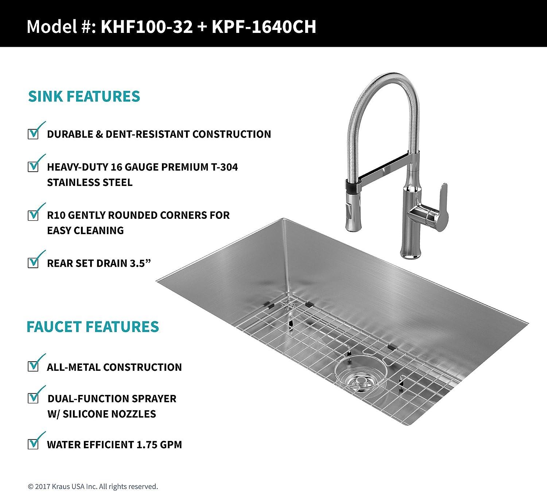 Kraus KHU100 1640 42CH Kitchen Sink and Faucet bo Handmade