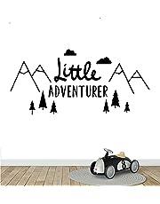 Melissalove Little Adventurer Home Wall Decal Sticker Adesivo de Parede Vinyl Wall Stickers for Kids Room Baby Room Nursery Wallpaper YA374 (Black)