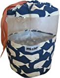 PEEK-A-BAGS Toy Storage Bag For Organizing Kid's Toys With Unique Colorful Drawstring bag. Perfect For a Gift Bag. (Mini, Blue & White Whales)