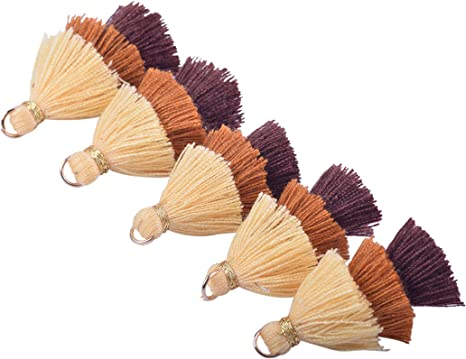Clothing 3.5cm Tiny Tri-Layered Tassels with Gold Jump Ring for Jewelry Making KONMAY 10pcs 1.4