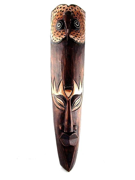 Lucky Búho máscara africana Tribal Larga de Madera Tallada a mano decorativo decoración de la pared marrón 20 inch: Amazon.es: Hogar