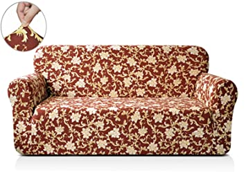 CHUN YI Chunyi Printed Sofa Covers 1 Piece Spandex Fabric Slipcover (Sofa,  Coffee