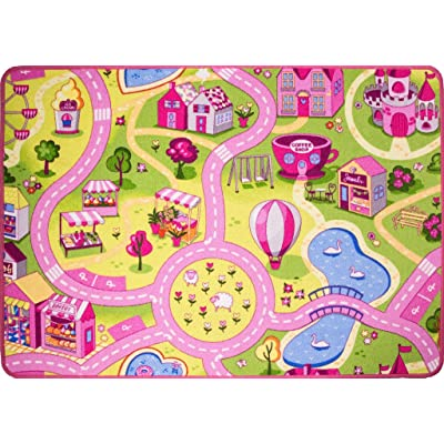 "Funfair Pink Colourful Kids Town City Roads Childrens Floor Play Area Rug Mat 3'1"" x 4'4"" (95cm x 133cm): Kitchen & Dining"