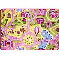 "Funfair Pink Colourful Kids Town City Roads Childrens Floor Play Area Rug Mat 2'6"" x 3'9"" (80cm x 120cm)"