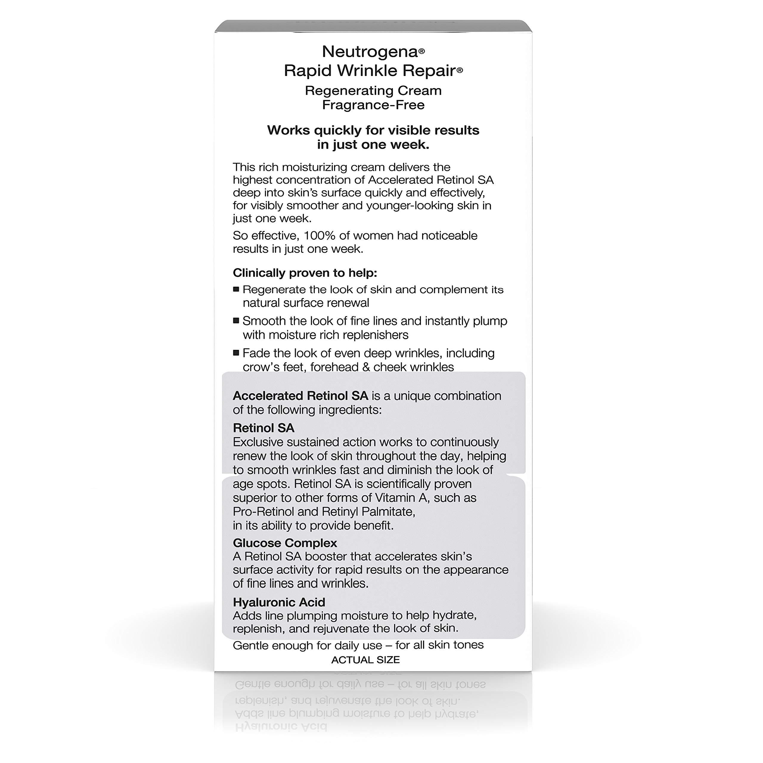 Neutrogena Rapid Wrinkle Repair Hyaluronic Acid Retinol Cream, Anti Wrinkle Cream, Face Moisturizer, Neck Cream & Dark Spot Remover for Face - Day & Night Cream with Hyaluronic Acid & Retinol, 1.7 oz by Neutrogena (Image #2)