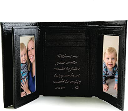 Black Leather Wallet Personalised For Free Ideal for Birthdays.
