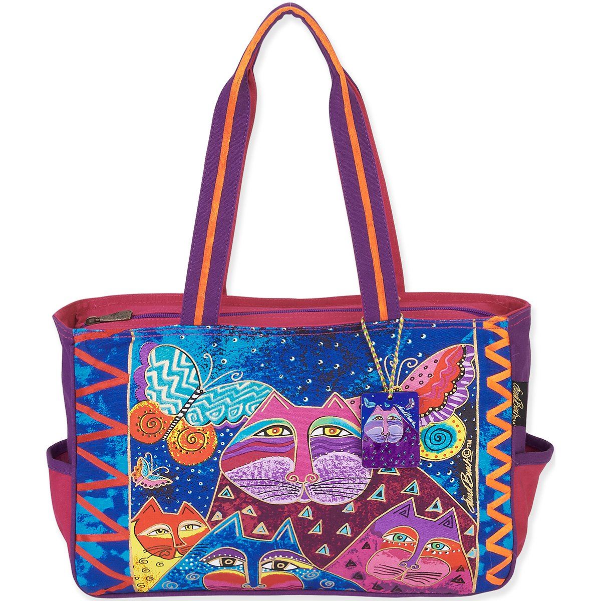 Laurel Burch Laurel Burch Medium Tote, 15 del 4 per 10 pollici, Gatti con farfalle LB5502