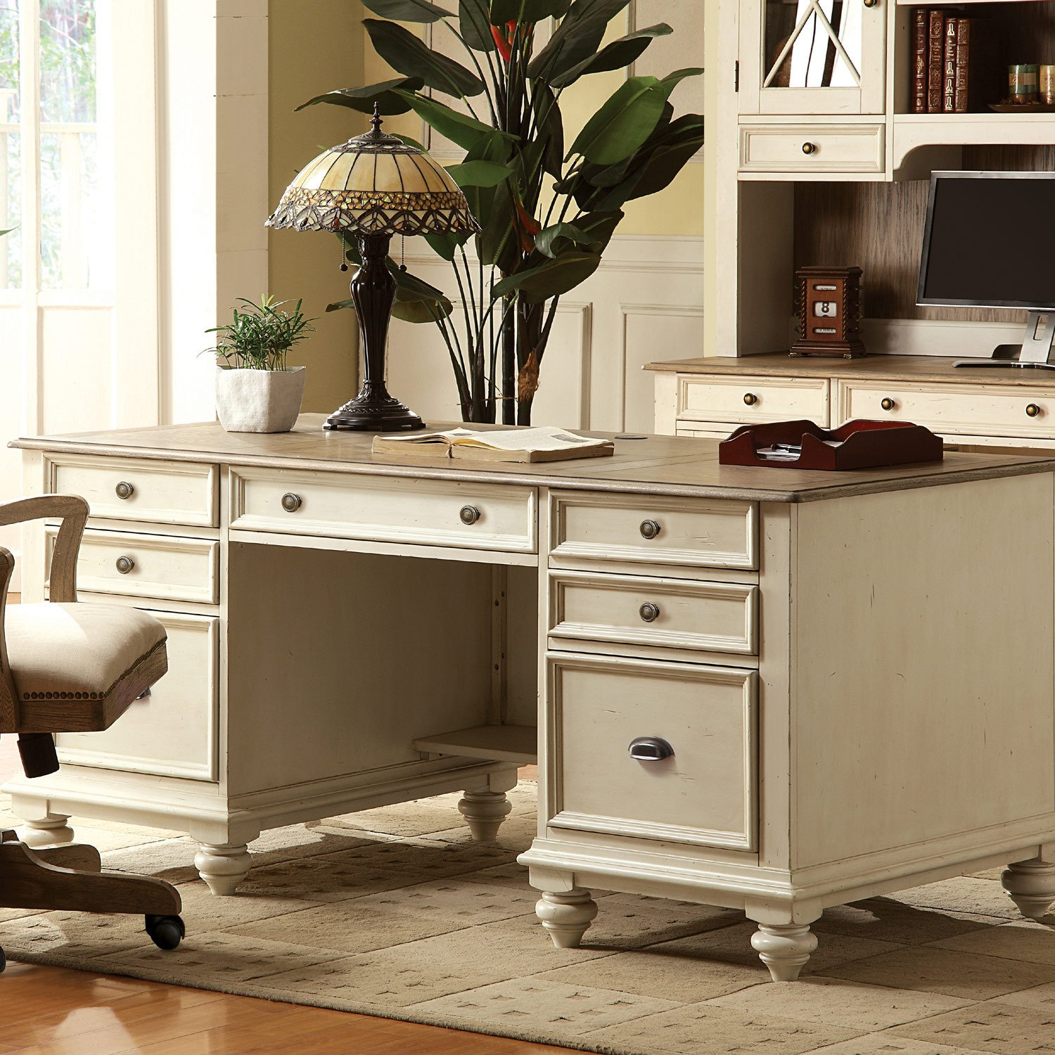 Amazon.com : Coventry Two Tone Executive Desk w Drawers (Weathered ...
