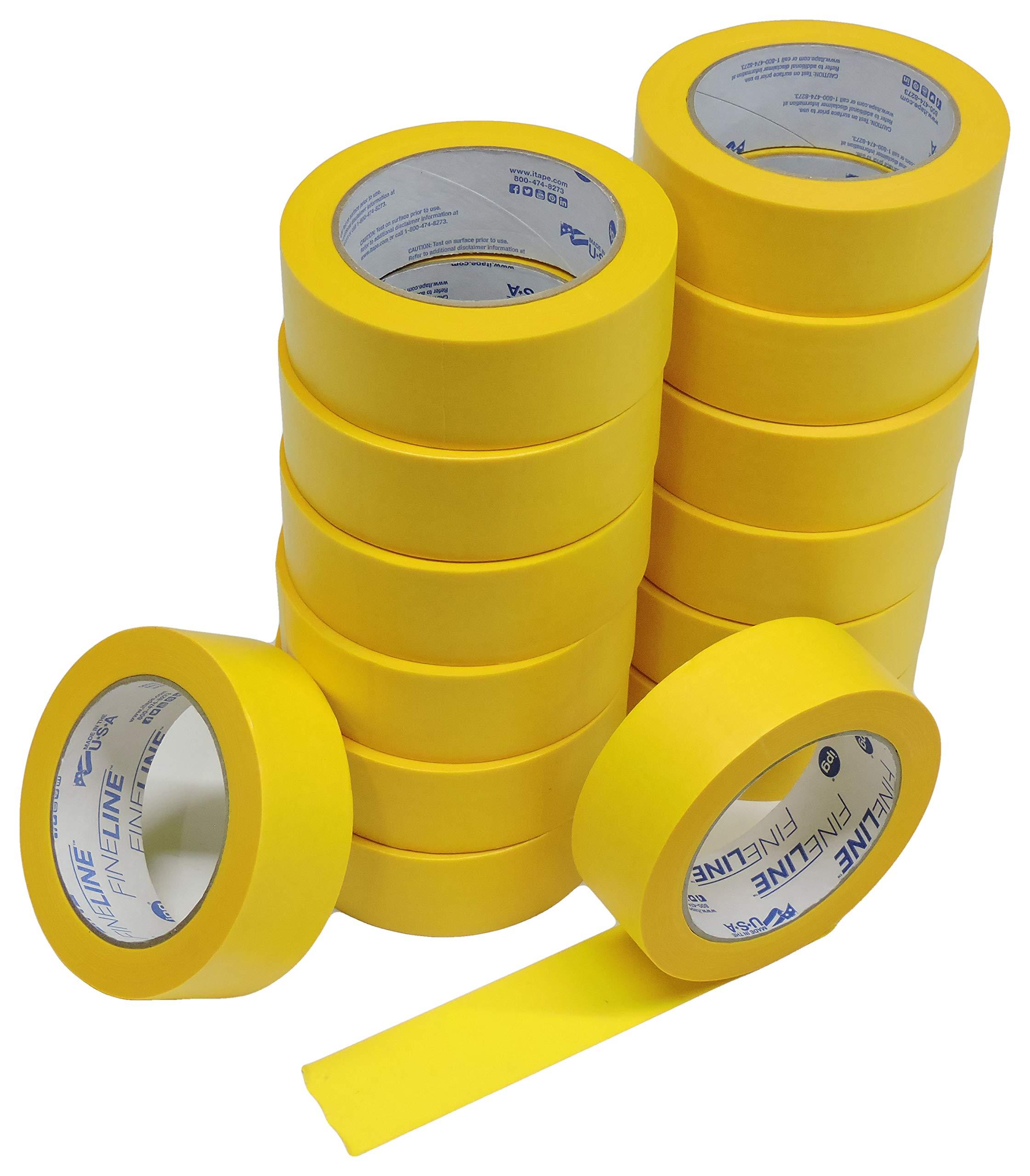 16pk IPG FineLine 1.5'' x 60yd Precision Mask Yellow Painters Masking Tape Razor Edge Pro Grade Cabinet Automotive Fine Edge Trim Tape