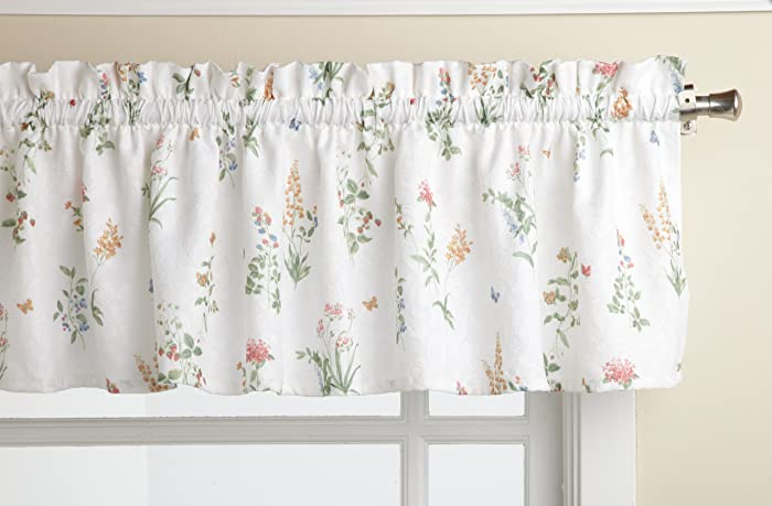LORRAINE HOME FASHIONS English Garden 55-inch x 12-inch Tailored Valance, White/Multi