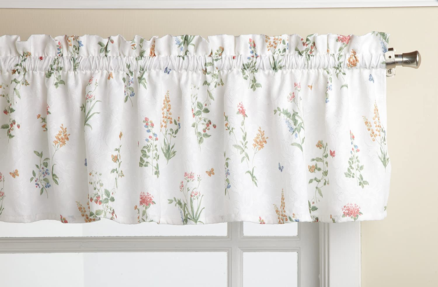 Lorraine Home Fashions English Garden 55-inch x 12-inch Tailored Valance, White/Multi