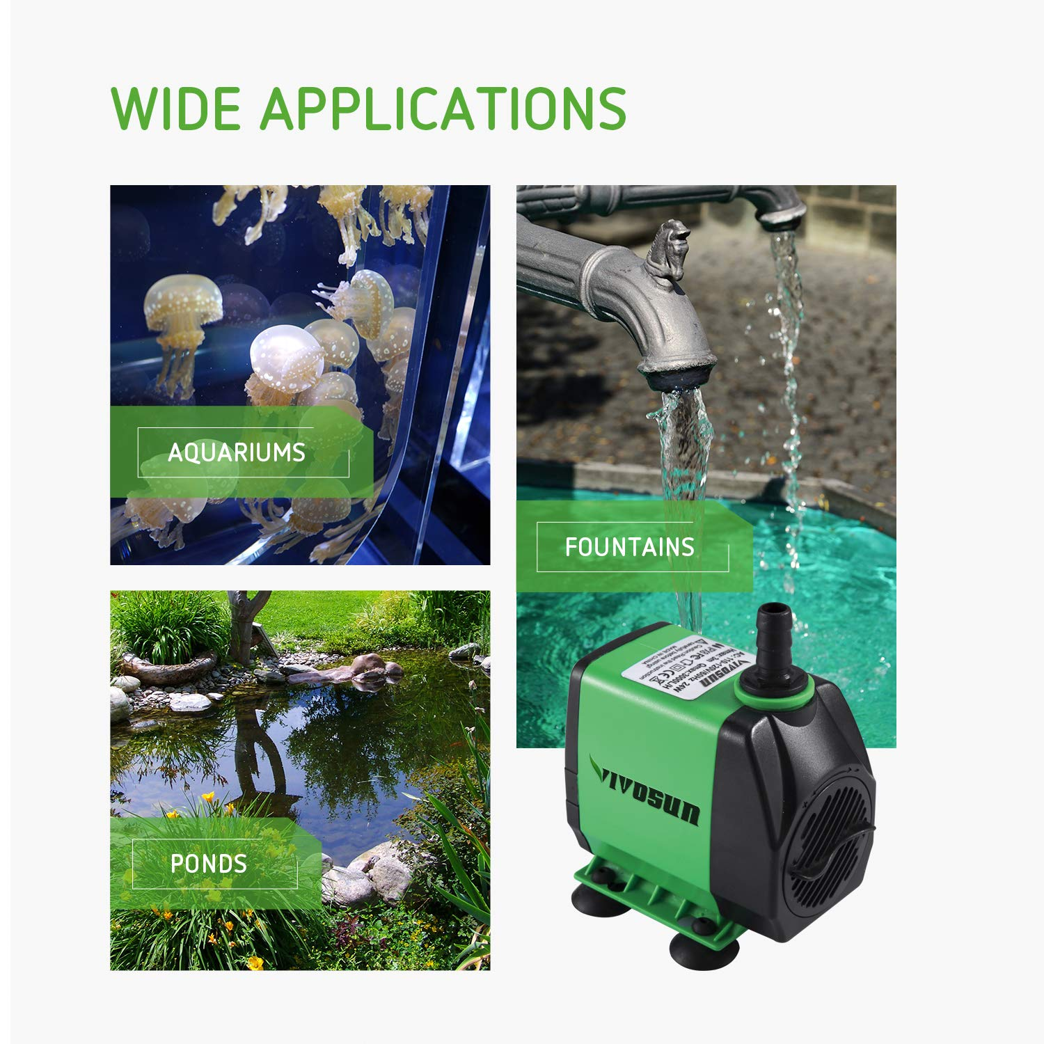 VIVOSUN 800GPH Submersible Pump(3000L/H, 24W), Ultra Quiet Water Pump with 10ft High Lift, Fountain Pump with 5ft Power Cord, 3 Nozzles for Fish Tank, Pond, Aquarium, Statuary, Hydroponics by VIVOSUN (Image #7)