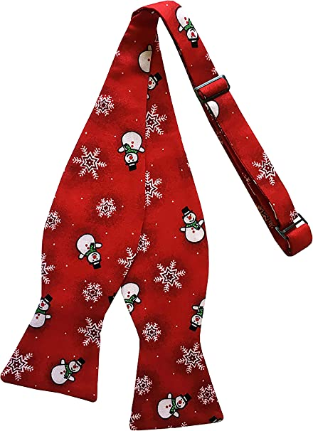 Holiday Bow Ties Mens Santa Claus Pre-tied Red and White Bow Tie for the Holiday