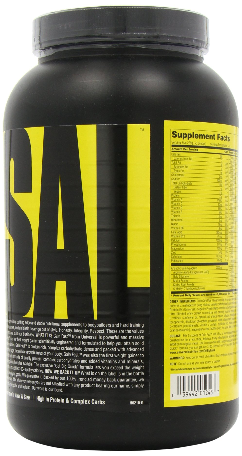 Universal Nutrition Gain Fast 3100, Cookies and Cream, 5.1-Pounds by Universal Nutrition (Image #6)