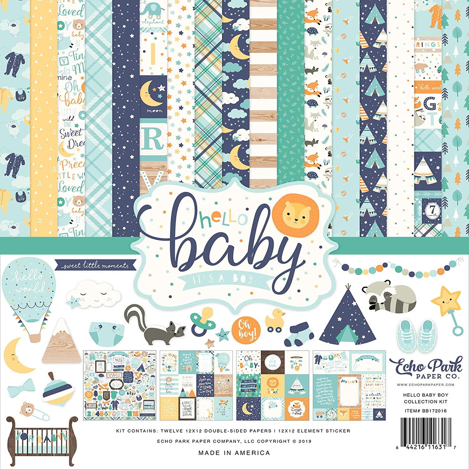 Teal Echo Park Paper Company BB172016A Hello Baby Boy Collection Kit Paper Blue Yellow Green