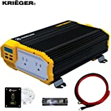 KRIËGER 1100 Watt 12V Power Inverter Dual 110V AC Outlets, Installation Kit Included, Automotive Back Up Power Supply…