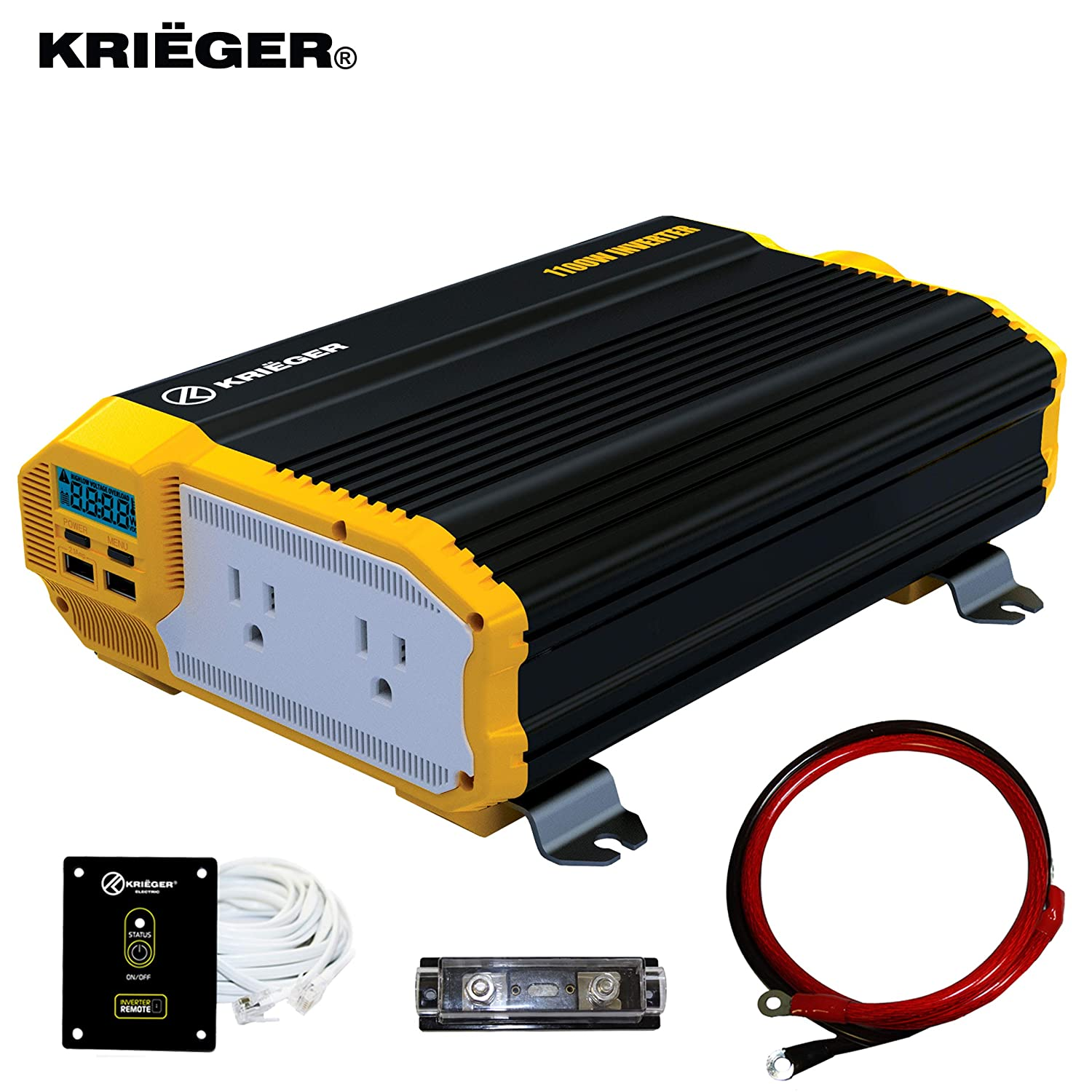 KRIËGER 1100 Watt 12V DC Power Inverter}