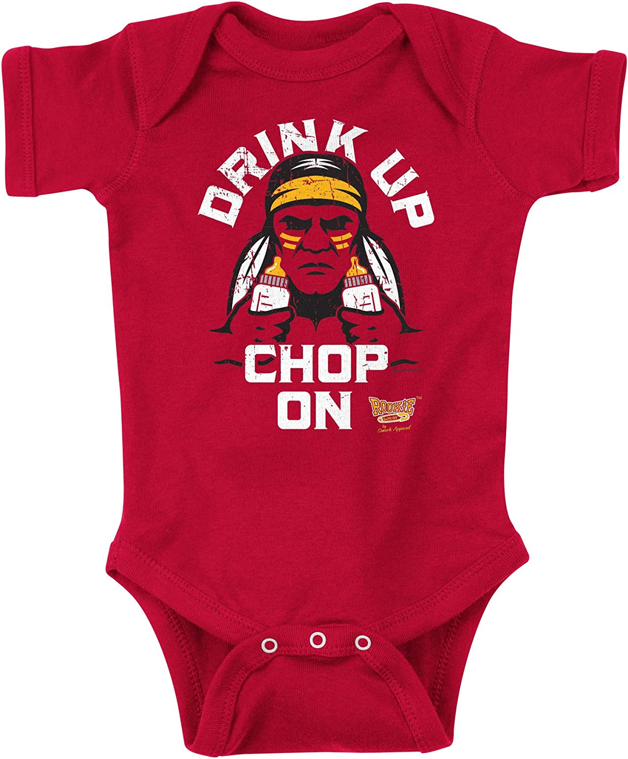 NB-4T Drink Up Chop On Red Onesie or Toddler Tee Rookie Wear by Smack Apparel Kansas City Football Fans