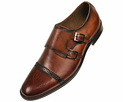 Men's Slip On Leather Monk Strap Shoes
