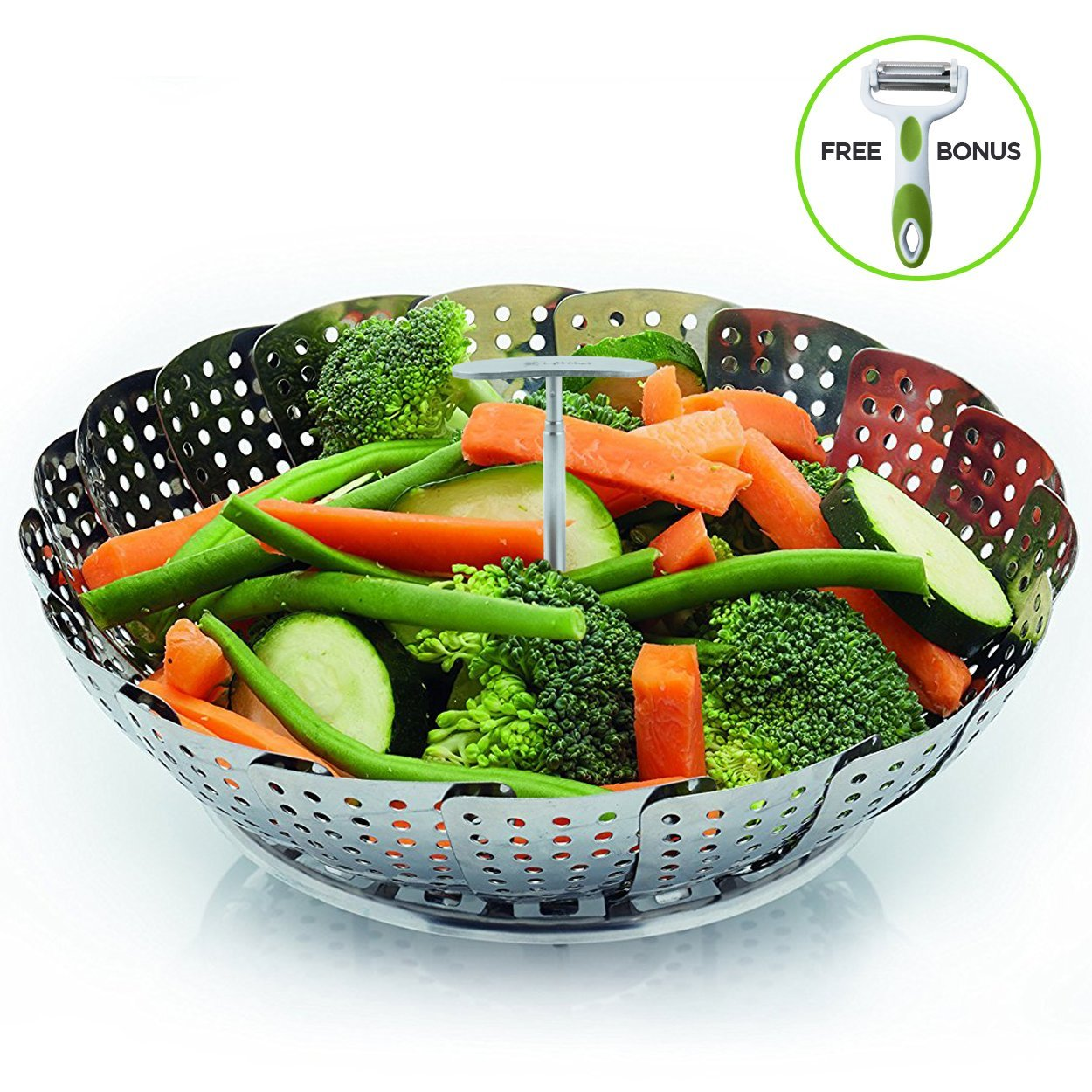 Stainless Steel Vegetable Steamer Basket By LyftChef: Metal Instant Pot Food Steamer, Strainer Insert For Veggies, Eggs, Fruit–Expandable Multifunction Steaming Pot – Julienne Peeler Included