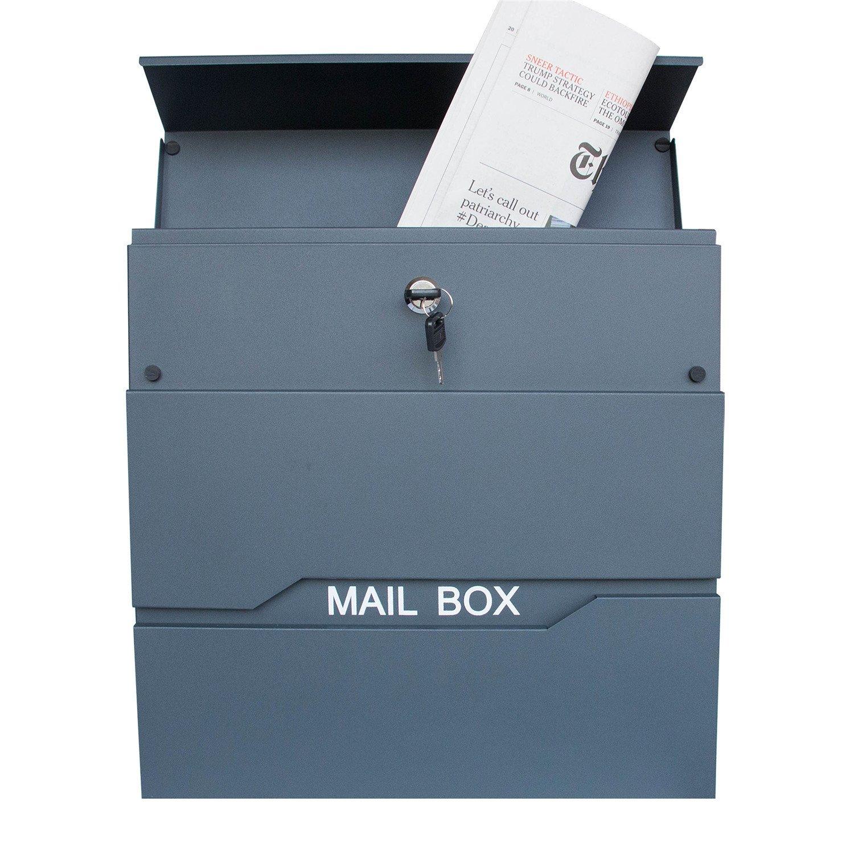 Modell Ⅴ, A LZQ Modern Neu Design-Briefkasten Geb/ürstetes Edelstahl Postkasten mit Zeitungsfach Zeitungsrolle Wandbriefkasten Postkasten mit Namensschild Anthrazit Postkasten