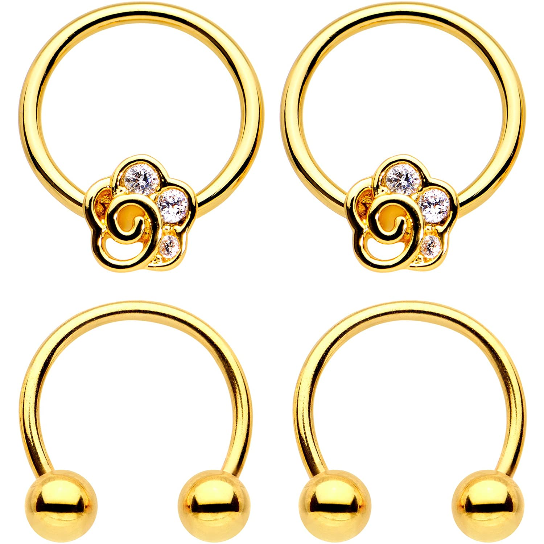 Body Candy Gold Tone PVD Steel Horseshoe Flower BCR Captive Nipple Ring Set of 2 16 Gauge 5//8