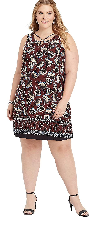 maurices Women\'s Plus Size Floral Border Print Shift Dress ...