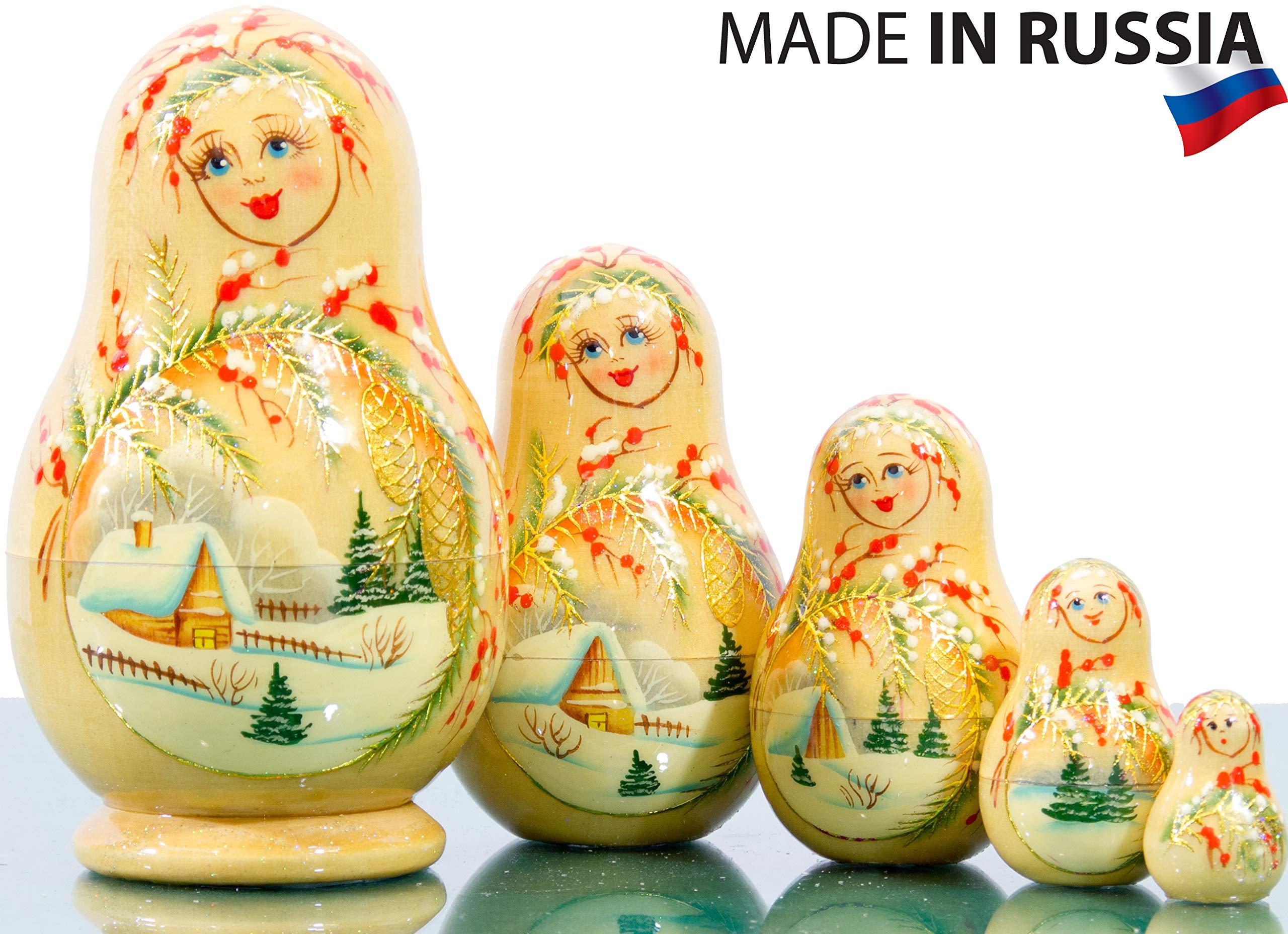 Russian Nesting Doll - Kirov - VJATKA - Hand Painted in Russia - Medium Size - Wooden Decoration Gift Doll - Matryoshka Babushka (Design B, 4.75`` (5 Dolls in 1))
