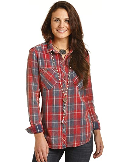 ea4e48502530e Rock and Roll Cowgirl Women s Long Sleeve Button B4B4317 Red Large at  Amazon Women s Clothing store