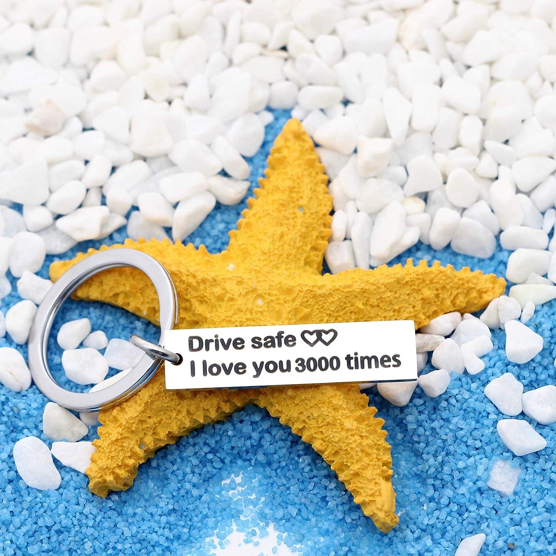 Llavero de Plata con Texto en ingl/és /«Drive Safe I Love You 3000 Times/» para Mujeres y Hombres