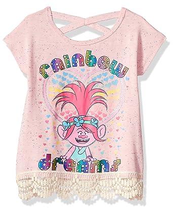 f9eeaa4fc DreamWorks Girls' Little Trolls Rainbow Dream Top, Pink, 16: Amazon.co.uk:  Clothing