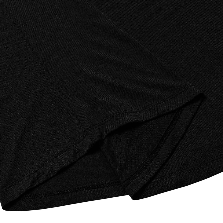 Black Large Perfashion Womens Yoga Tops Plain Crew Neck Loose Open Back Short Sleeve T Shirts