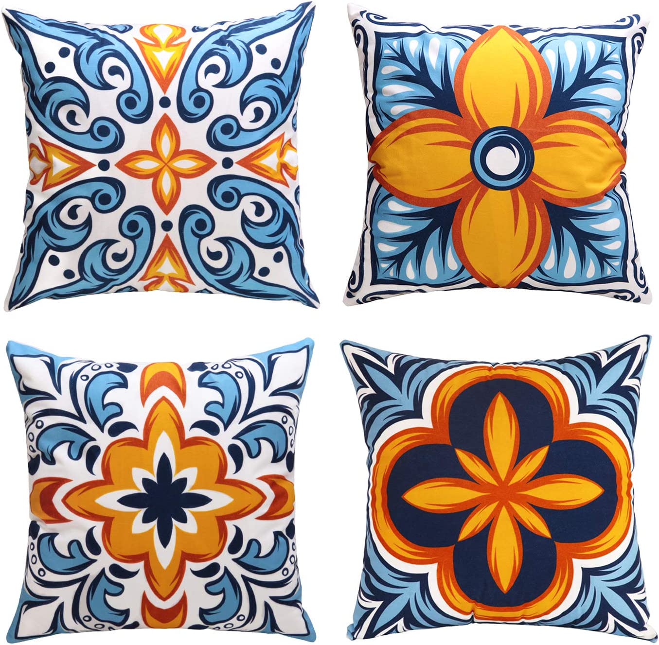 cygnus Farmhouse Throw Pillow Covers 18x18 inch Floral and Boho Retro Pattern Pillowcase Outdoor Decor Cushion Cover Pillow Case Decorative Set of 4