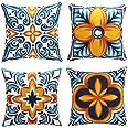 cygnus Farmhouse Throw Pillow Covers 18x18 inch Floral and Boho Retro Pattern Pillowcase Outdoor Decor Cushion Cover Pillow C
