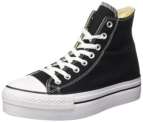 Converse Mujer CTAS Hi Platform Canvas Zapatillas Altas Negro Size: 41.5: Amazon.es: Zapatos y complementos