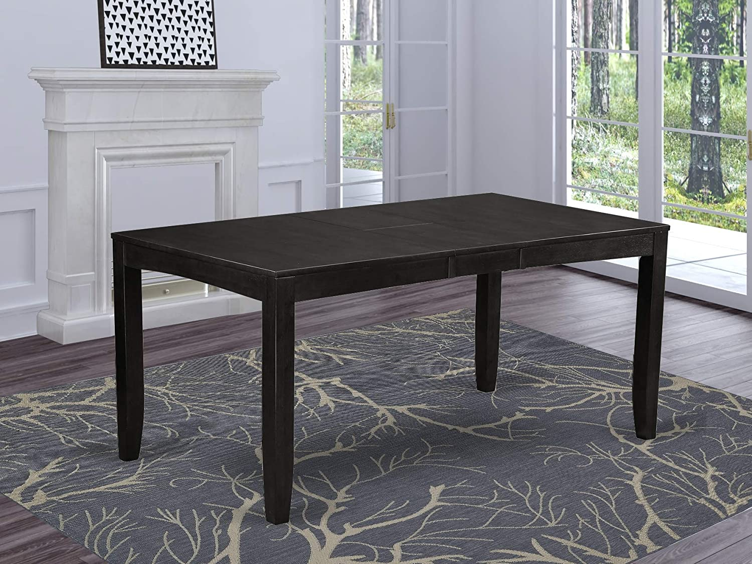 East West Furniture LYT-CAP-T Rectangular Dining Table with Butterfly Leaf, 36 by 66-Inch, Cappuccino Finish