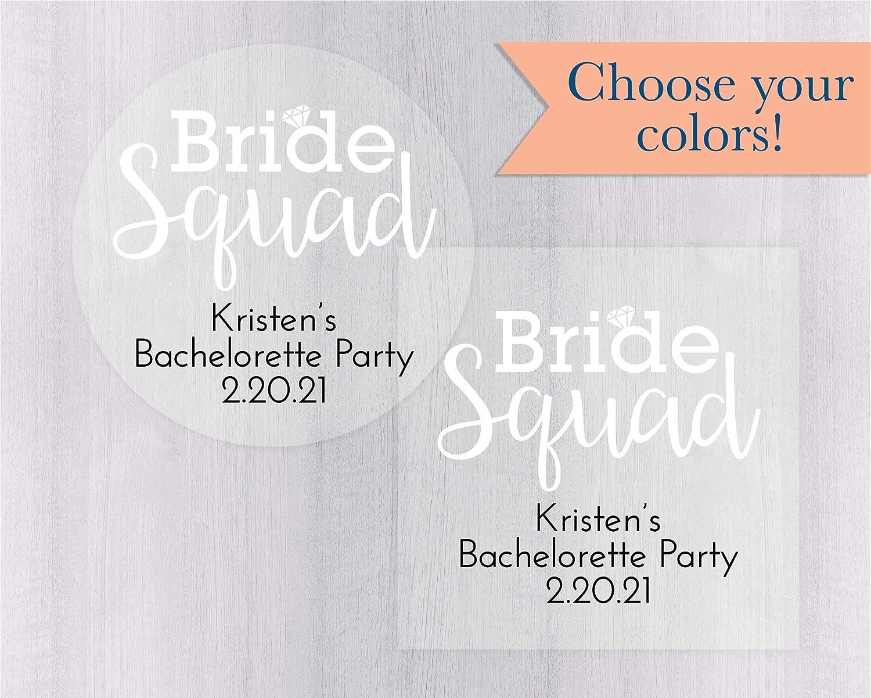 Amazon com bride squad bachelorette party stickers clear bachelorette party labels personalized transparent labels 502 c handmade