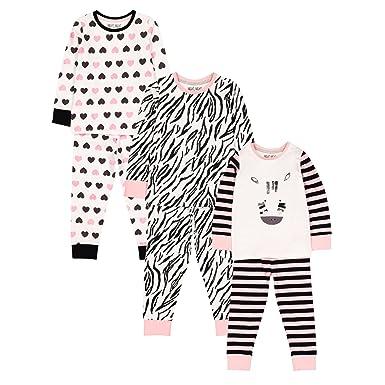 0502dff54 Mothercare Baby Girls Long Sleeve 3 Pack Novelty Zebra PJ Pyjama ...
