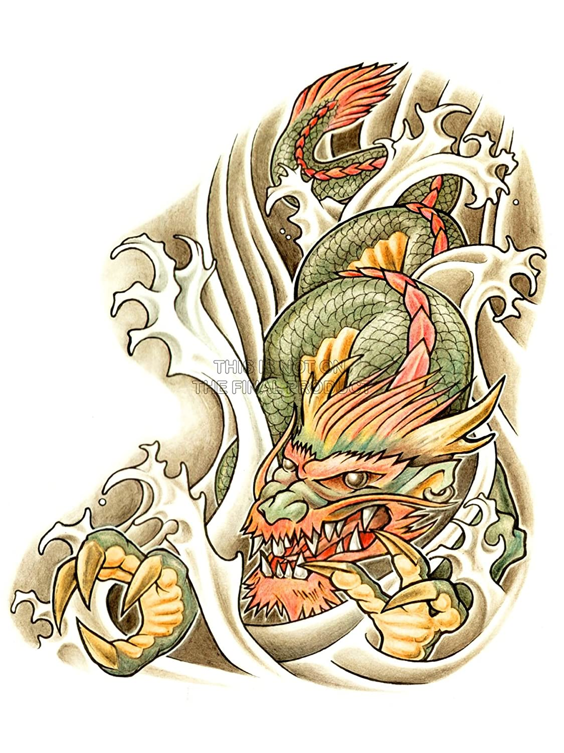 PAINTING DRAWING ILLUSTRATION JAPANESE DRAGON TATTOO AFICHE ...