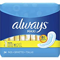 Always Maxi Unscented Pads without Wings, Regular, 24 Count, 1 paquete