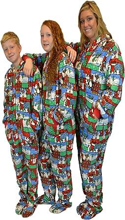 BIG FEET PAJAMA CO. Navidad Feo suéter con Capucha Felpa Patas Pijamas