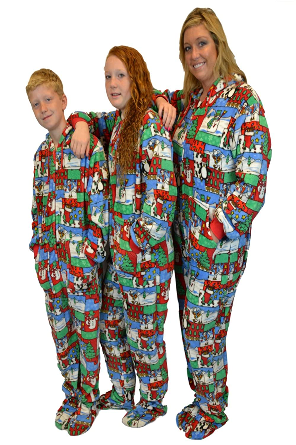 fa45995f9a63 Amazon.com  Christmas Fun Plush Hoodie Footed Onesie Pajamas Loungewear for  Men   Women  Clothing